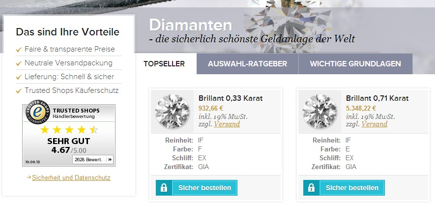 Goldsilbershop Diamanten